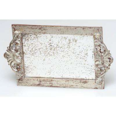 Silver Antiqued Mirror Wood Vanity Decorative Tray