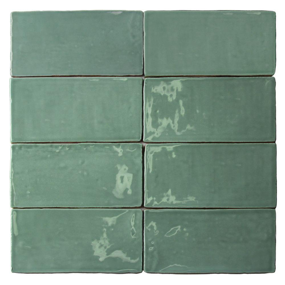 Ivy Hill Tile Catalina Green Lake 3 in. x 6 in. x 8 mm Ceramic Wall Subway Tile