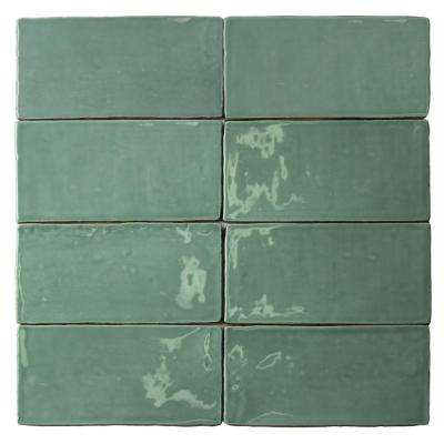 Catalina Green Lake 3 in. x 6 in. x 8 mm Ceramic Wall Subway Tile