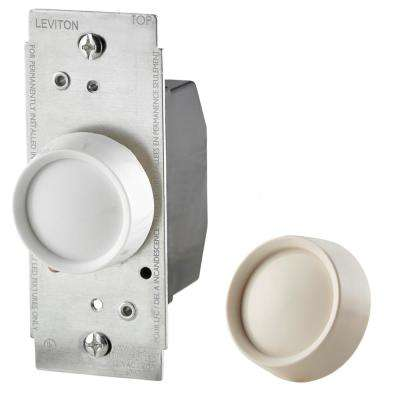 Trimatron 600-Watt Single-Pole/3-Way Universal Push On/Off Rotary Dimmer, White/Light Almond