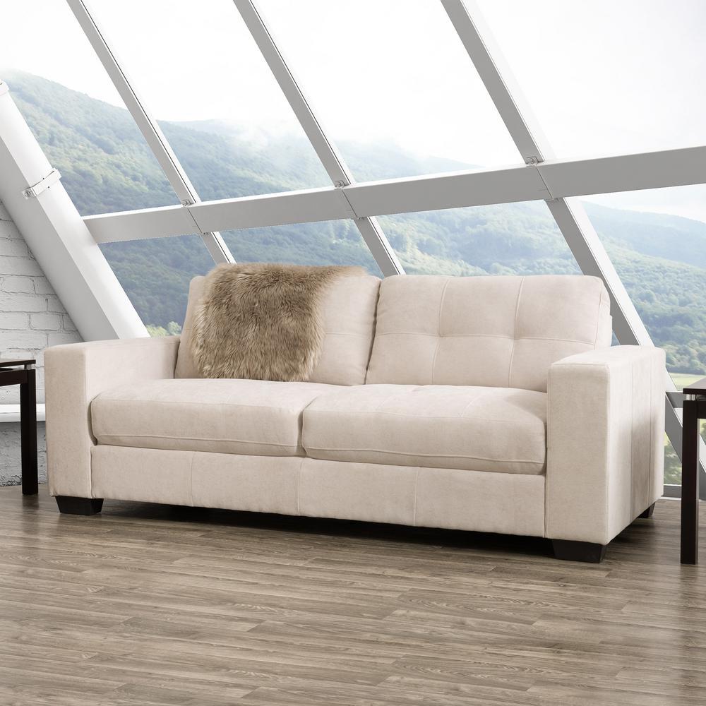 Corliving Club Tufted Beige Chenille Fabric Sofa