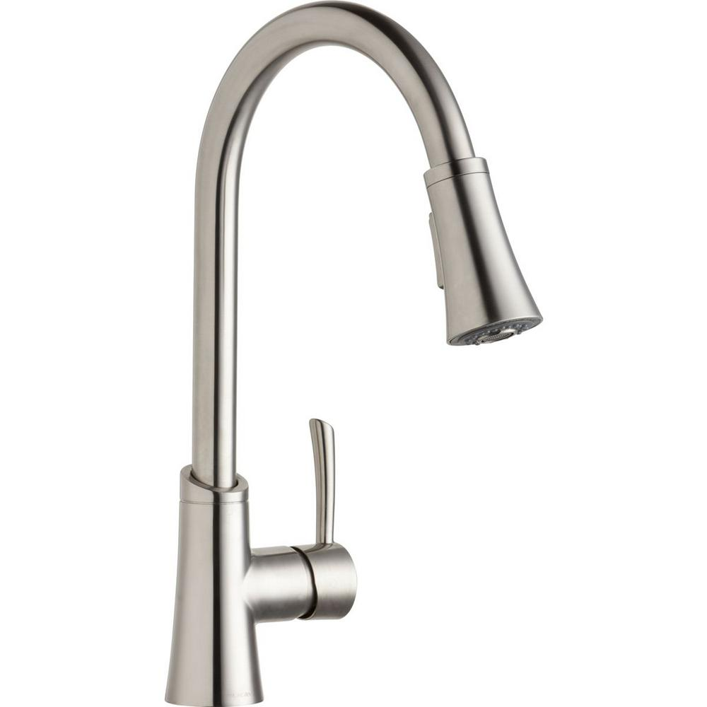 Elkay Gourmet Single Handle Pull Down Sprayer Kitchen Faucet In