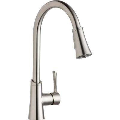 Gourmet Single-Handle Pull-Down Sprayer Kitchen Faucet in Lustrous Steel