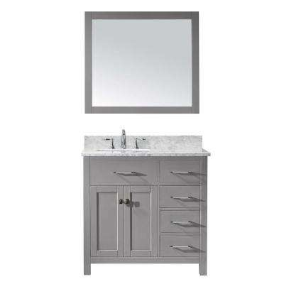 Caroline Parkway 36 in. W x 22 in. D Vanity in Cashmere Grey with Marble Vanity Top in White with White Basin and Mirror