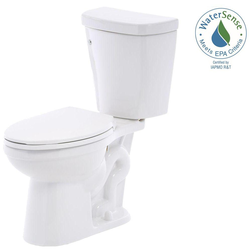 Delta Brevard 2-piece 1.28 GPF Elongated Toilet in White with FlushIQ