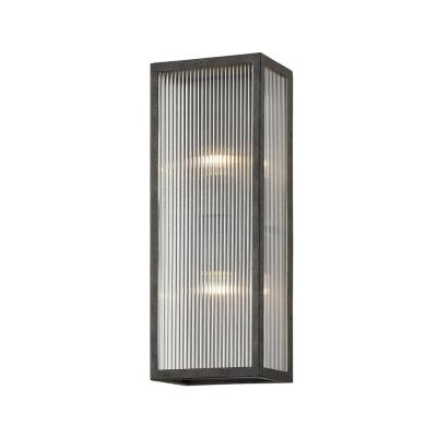 Tisoni 18 in. French Iron 2-Light Wall Sconce with Ribbed Glass Shade