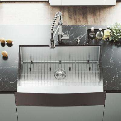 All-in-One Farmhouse Apron Front Stainless Steel 33 in. Single Bowl Kitchen Sink with VG02001 Faucet in Stainless Steel