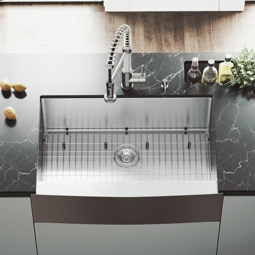 VIGO All-in-One 33 in. Bedford Stainless Steel Single Bowl Farmhouse Kitchen Sink with Pull Down Faucet in Stainless Steel, Satin was $699.9 now $489.9 (30.0% off)