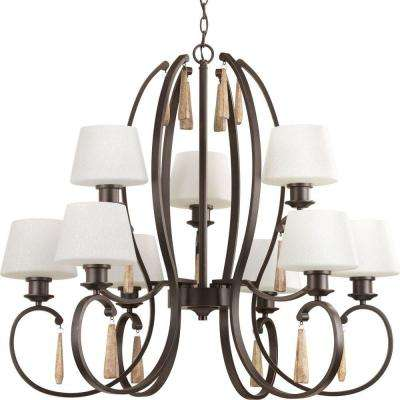 Club Collection 9-Light Antique Bronze Chandelier with Shade with Tea-Stained Glass Shade