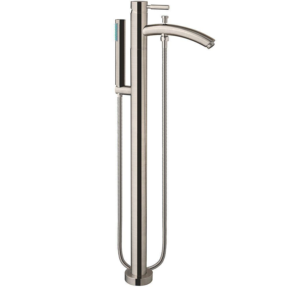 taron 1handle floormount tub filler in brushed nickel