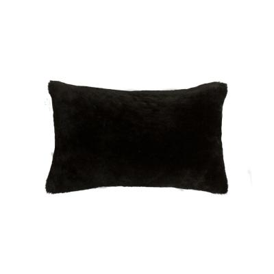 Nelson Sheepskin Black Solid 12 in. x 20 in Throw Pillow
