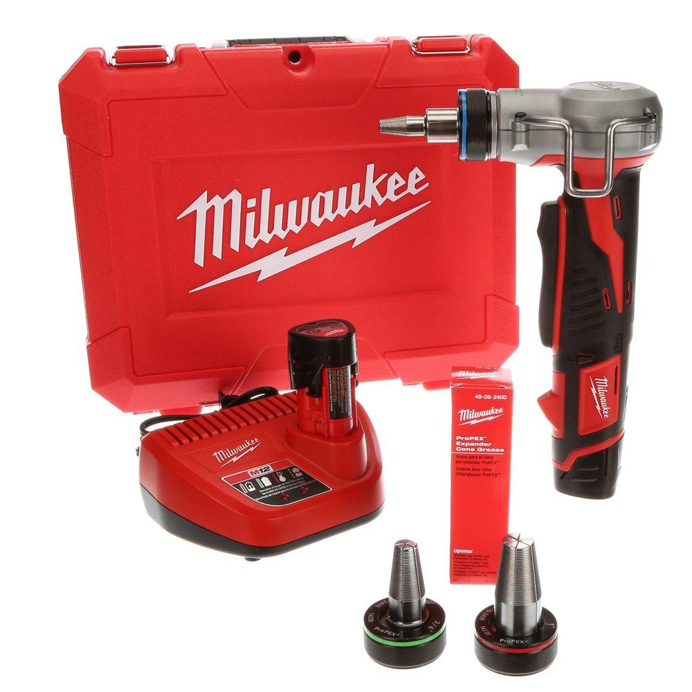 Milwaukee M12 12-Volt Lithium-Ion Cordless ProPEX Expansion Tool Kit with (2) 1.5Ah Batteries, (3) Expansion Heads and Hard Case