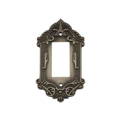 Victorian Switch Plate with Single Rocker in Antique Pewter