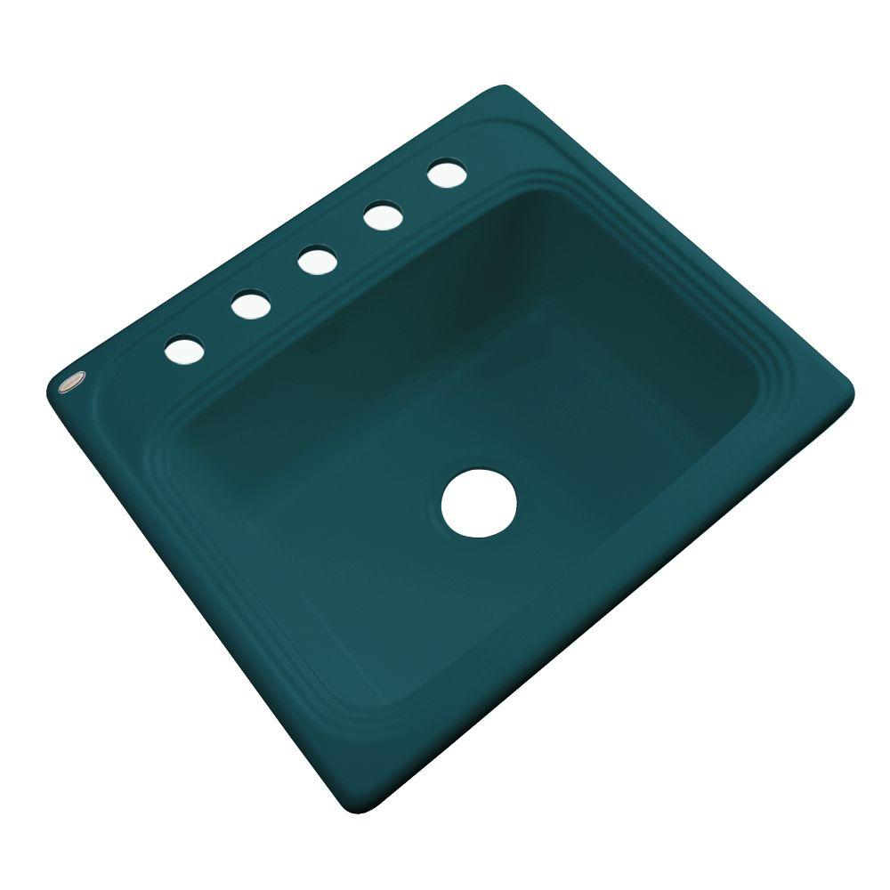 Thermocast Wellington Drop-In Acrylic 25 in. 5-Hole Single Bowl Kitchen Sink in Teal