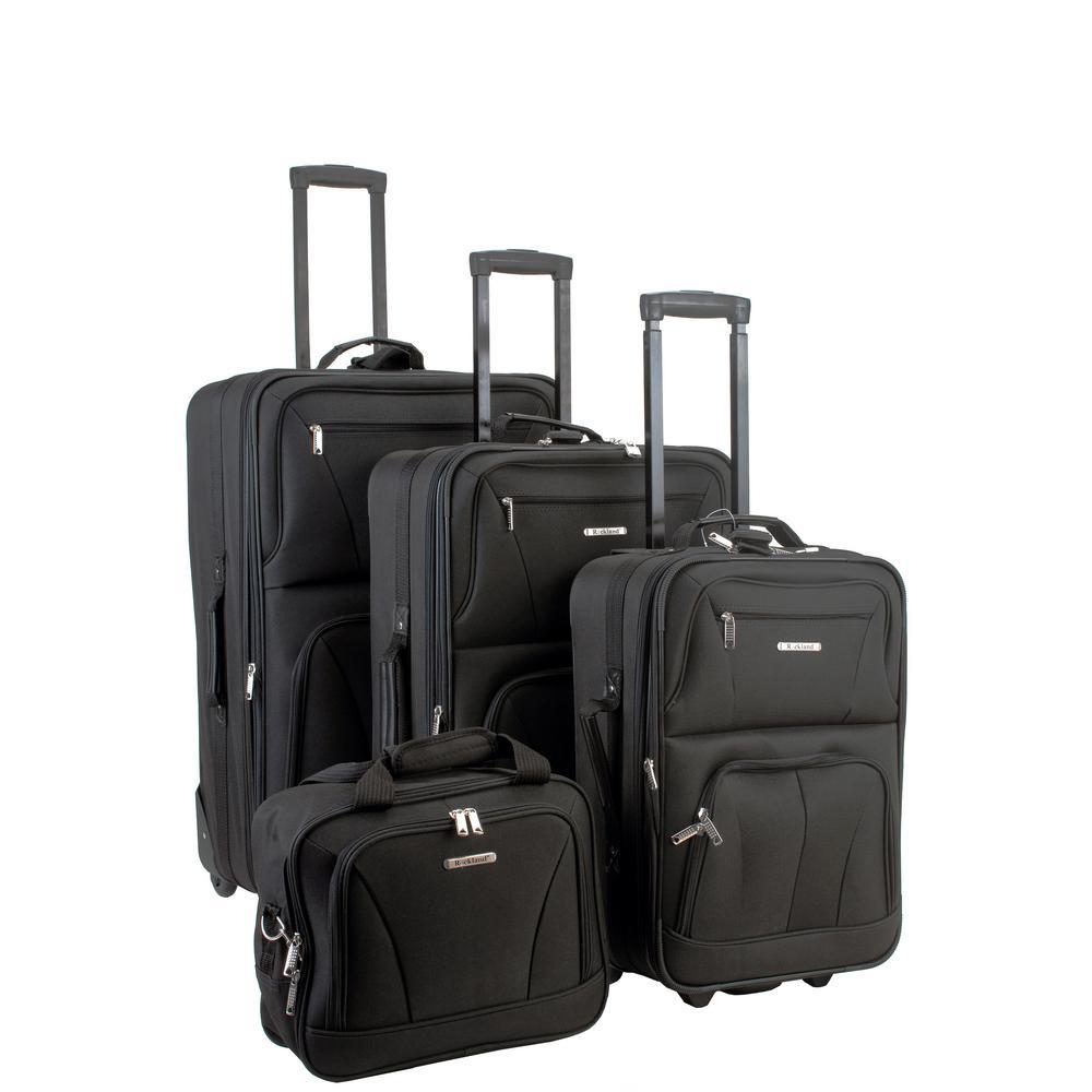 Rockland 4-Piece Luggage Set, Black