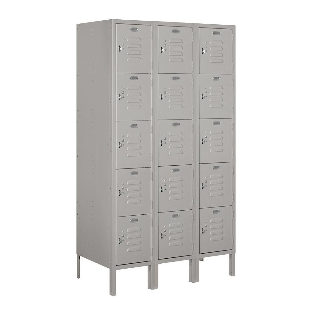 Salsbury Industries 65000 Series 36 in. W x 66 in. H x 18 in. D 5-Tier Box Style Metal Locker Unassembled in Gray