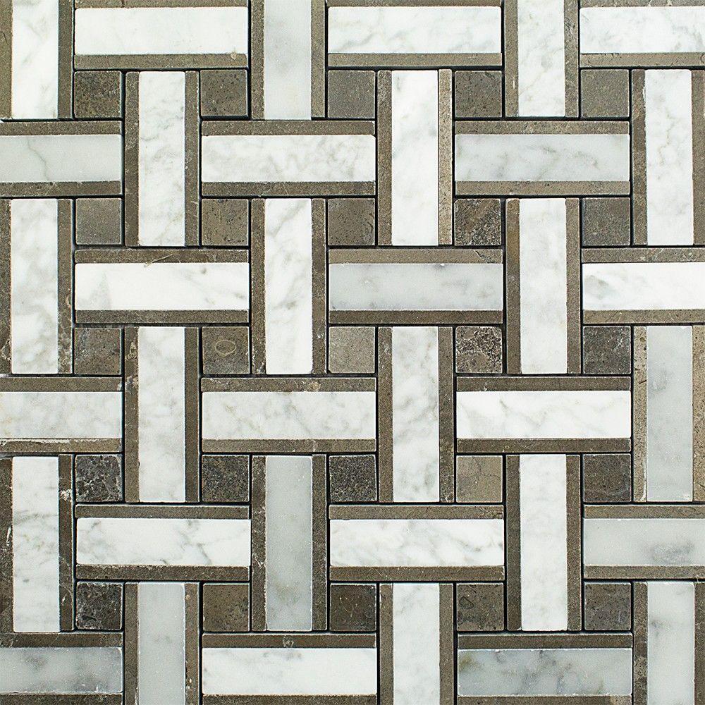 Splashback Tile Yarn London Fog Polished Marble Tile - 3 in. x 6 in ...