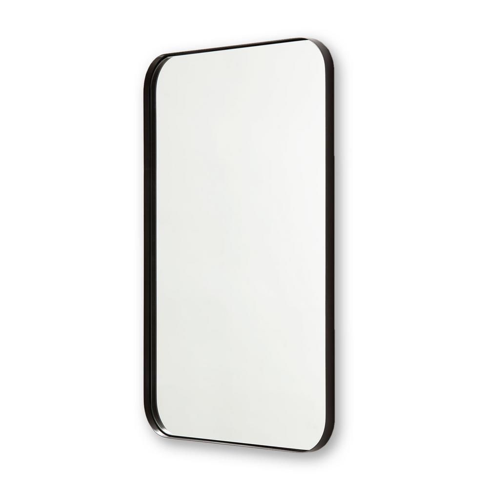 30 in. x 40 in. Metal Framed Rounded Rectangle Bathroom Vanity Mirror in Satin Black