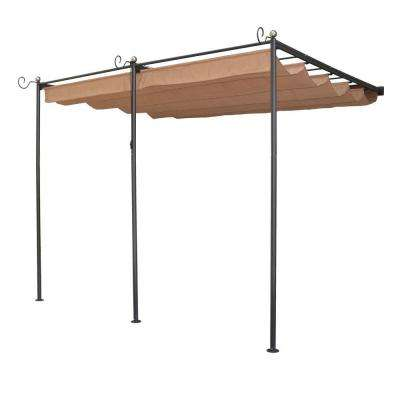 English Garden 10 ft. 9 in. x 8 ft. 10 in. Gunmetal Grey Steel Wall Mount Retractable Canopy