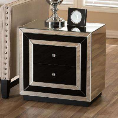 Cecilia 2-Drawer Black Nightstand