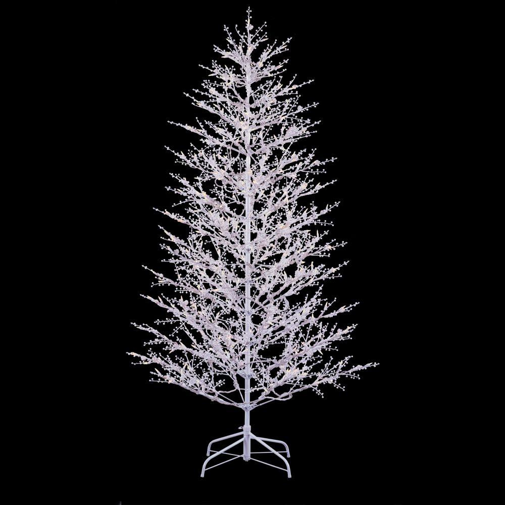 ge 7 ft white winterberry branch tree with led lights - Home Depot Christmas Decorations For The Yard