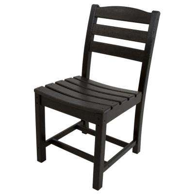 La Casa Cafe Black All-Weather Plastic Outdoor Dining Side Chair