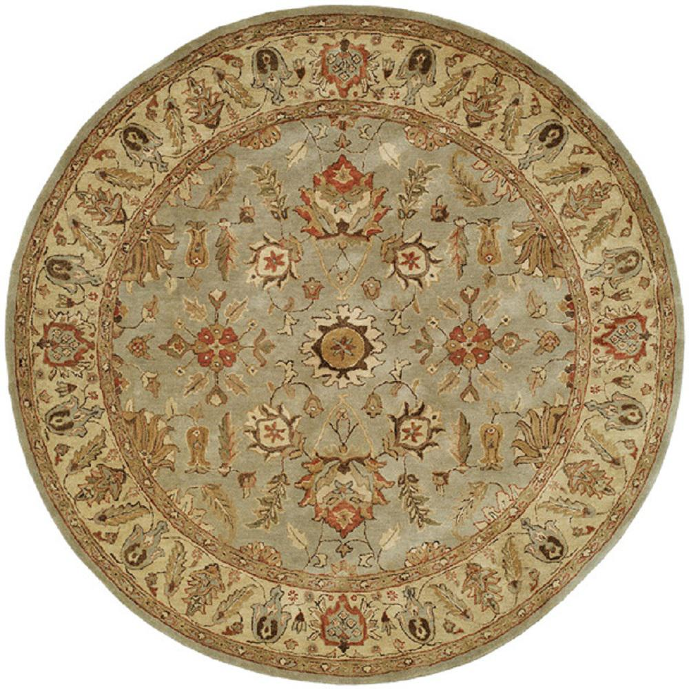safavieh antiquity light blue gold 8 ft x 8 ft round area rug at613a 8r the home depot. Black Bedroom Furniture Sets. Home Design Ideas
