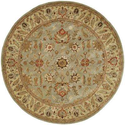 Empire Light Blue/Gold 4 ft. Round Area Rug