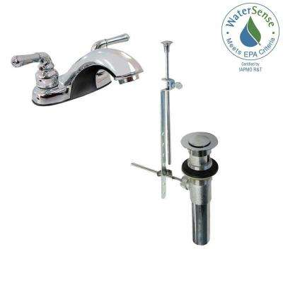 Dominion 4 in. Centerset 2-Handle Bathroom Faucet in Chrome with Drain