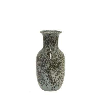 Black and White Ceramic Decorative Vase with Glossy Finish