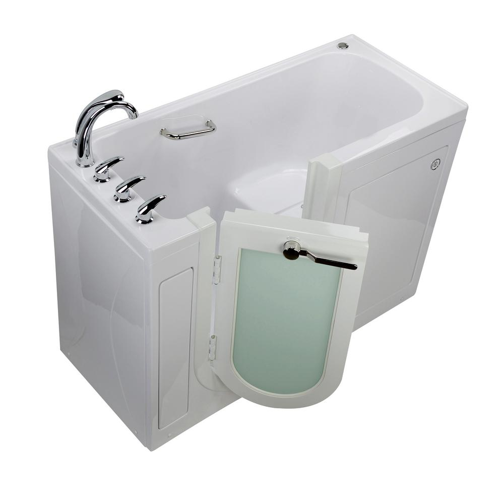 Ella Lounger 60 in. Acrylic Walk-In Soaking Bathtub in White with Fast Fill Faucet Heated Seat and Left 2 in. Dual Drain