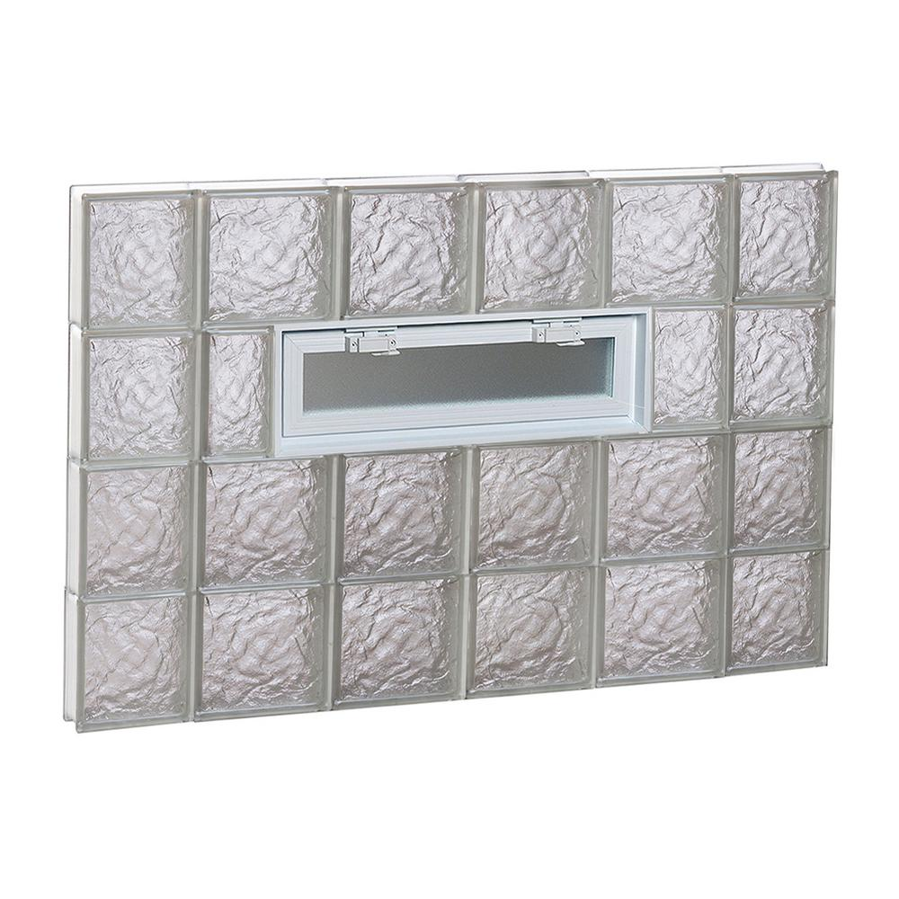 Clearly Secure 42.5 in. x 31 in. x 3.125 in. Frameless Ice Pattern Vented Glass Block Window