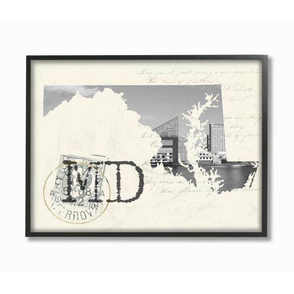 The Stupell Home Decor Collection 24 In X 30 Maryland Black And