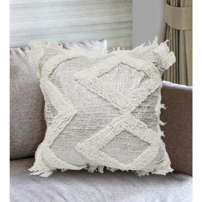 Ela White and Silver Geometric Polyester 18 in. x 18 in. Throw Pillow