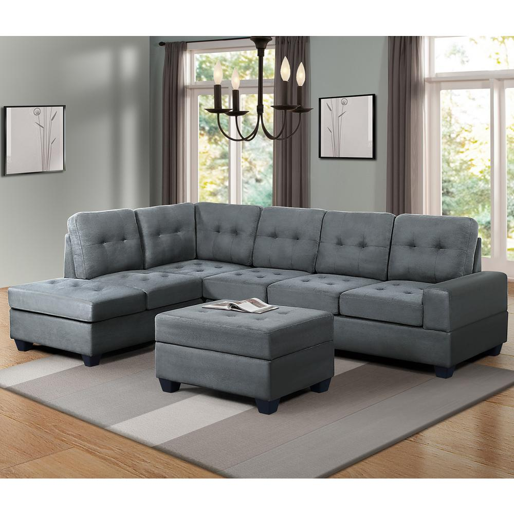 HarperBrightDesigns Harper & Bright Designs Grey 3-Piece Microfiber Sectional with Reversible Chaise Lounge Storage Ottoman and Cup Holder