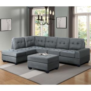 Harper & Bright Designs Grey 3-Piece Sectional Sofa Microfiber with ...