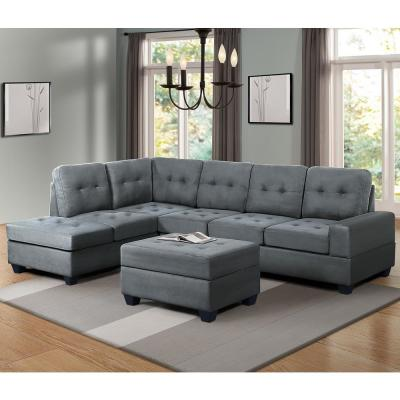 Grey 3-Piece Microfiber Sectional with Reversible Chaise Lounge Storage Ottoman and Cup Holder