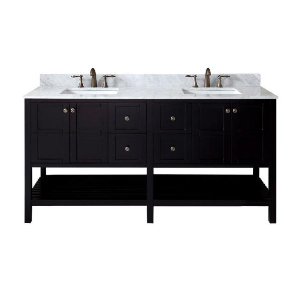 Winterfell 72 in. W Bath Vanity in Espresso with Marble Vanity Top in White with Square Basin