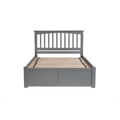 Mission King Platform Bed with Flat Panel Foot Board and 2 Urban Bed Drawers in Grey