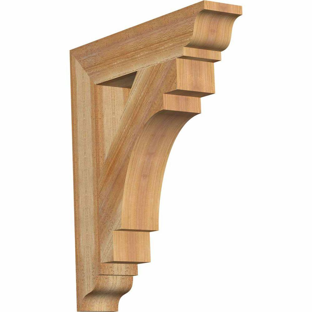 Ekena Millwork 4 in. x 24 in. x 20 in. Western Red Cedar Merced Traditional Rough Sawn Bracket