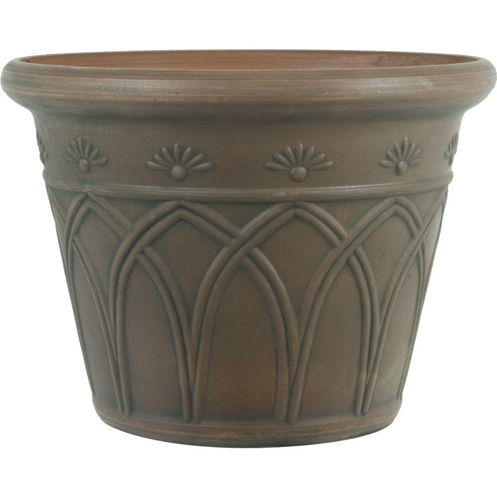 16 in. Dia Arch Brown Plastic Planter