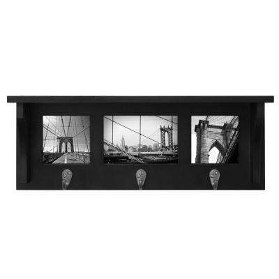 Riley 18.75 in. W x 4 in. D x 7 in. H with 3 Metal Hooks Black Wall Shelf and Picture Collage Frame