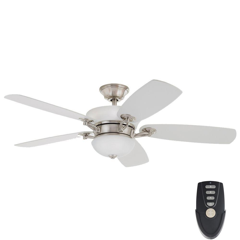 Home Decorators Collection Chardonnay 52 In Indoor Brushed Nickel Ceiling Fan With Light Kit