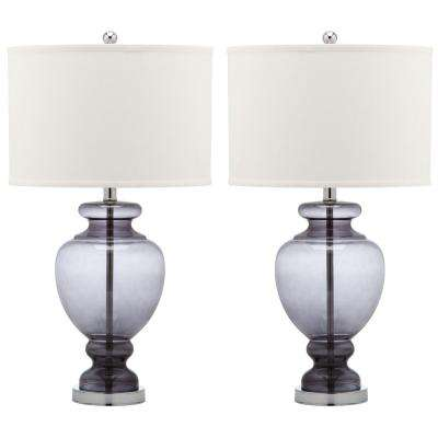 Morocco 27 in. Smoking Grey Glass Table Lamp (Set of 2)