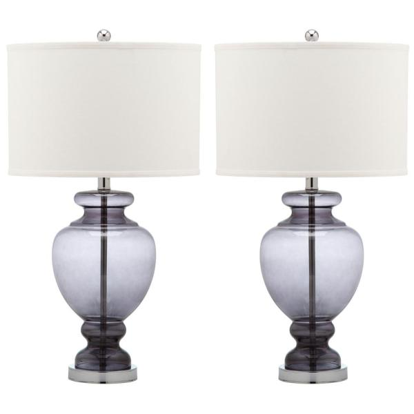 Morocco 27 in. Smoking Grey Glass Vase Table Lamp with Off-White Shade (Set of 2)