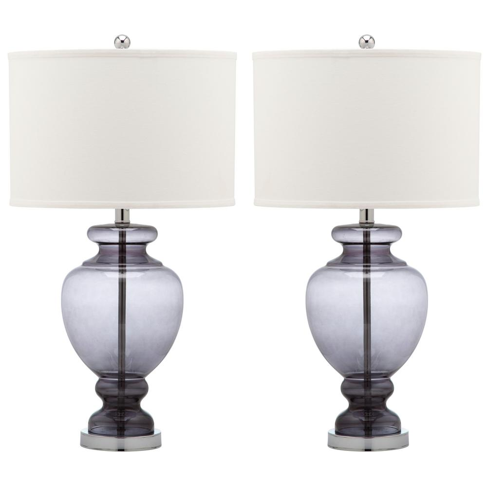 Safavieh Morocco 27 In Smoking Grey Glass Table Lamp Set Of 2