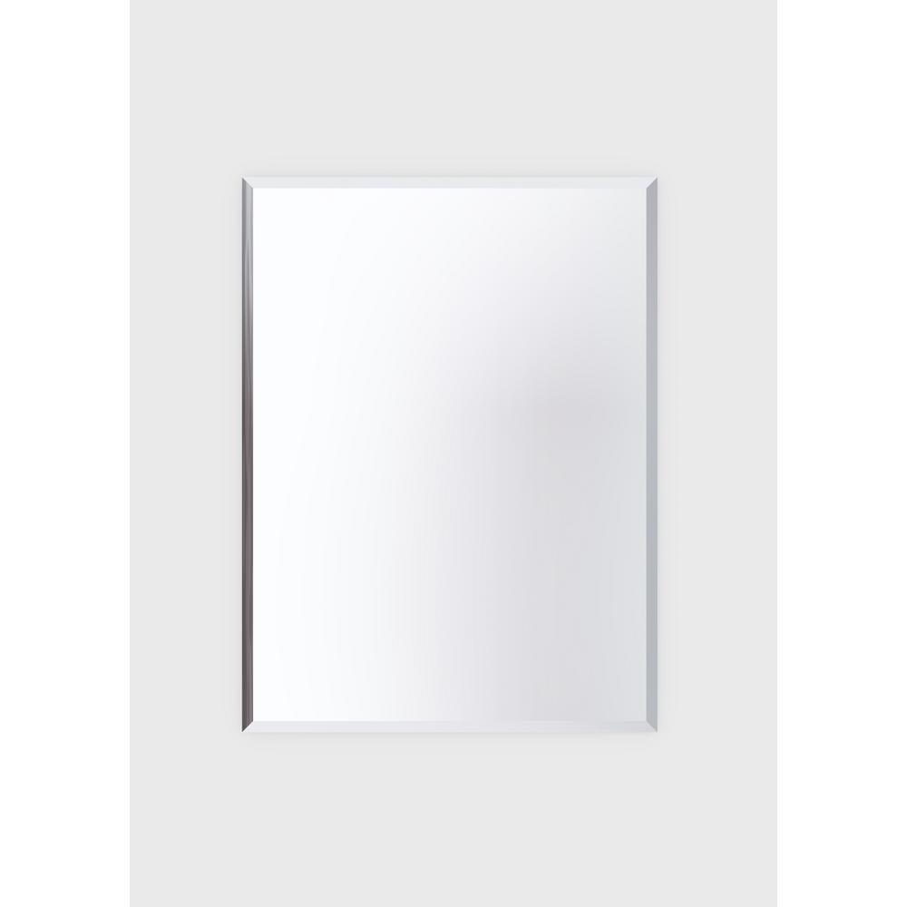 36 in. W x 48 in. H Frameless Rectangular Beveled Edge Bathroom Vanity Mirror