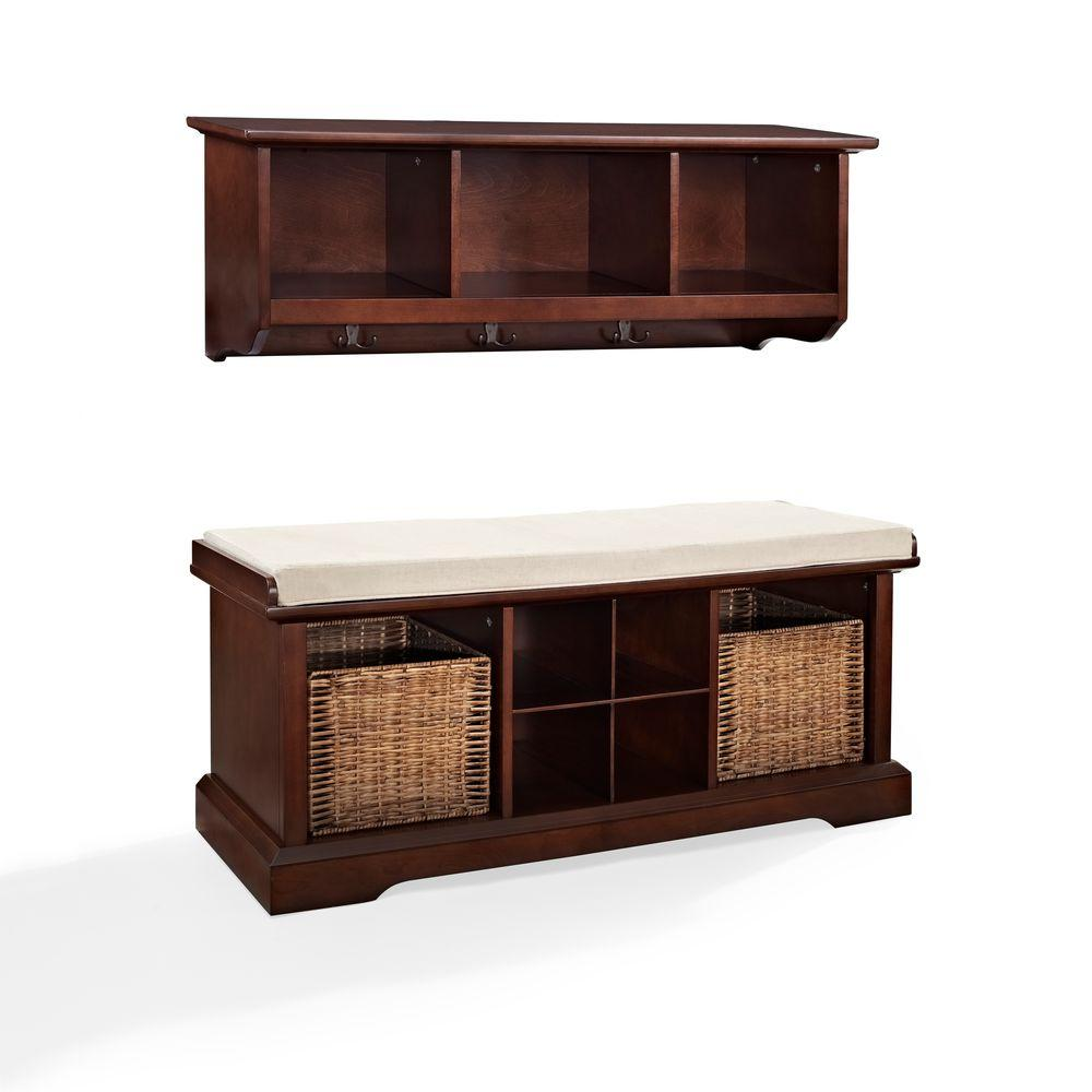Strange Crosley Brennan Entryway Bench With Shelf Set In Mahogany Ocoug Best Dining Table And Chair Ideas Images Ocougorg