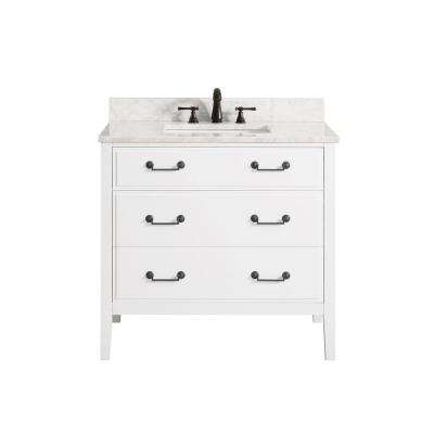 Delano 37 in. W x 22 in. D x 35 in. H Vanity in White with Marble Vanity Top in Carrera White with White Basin