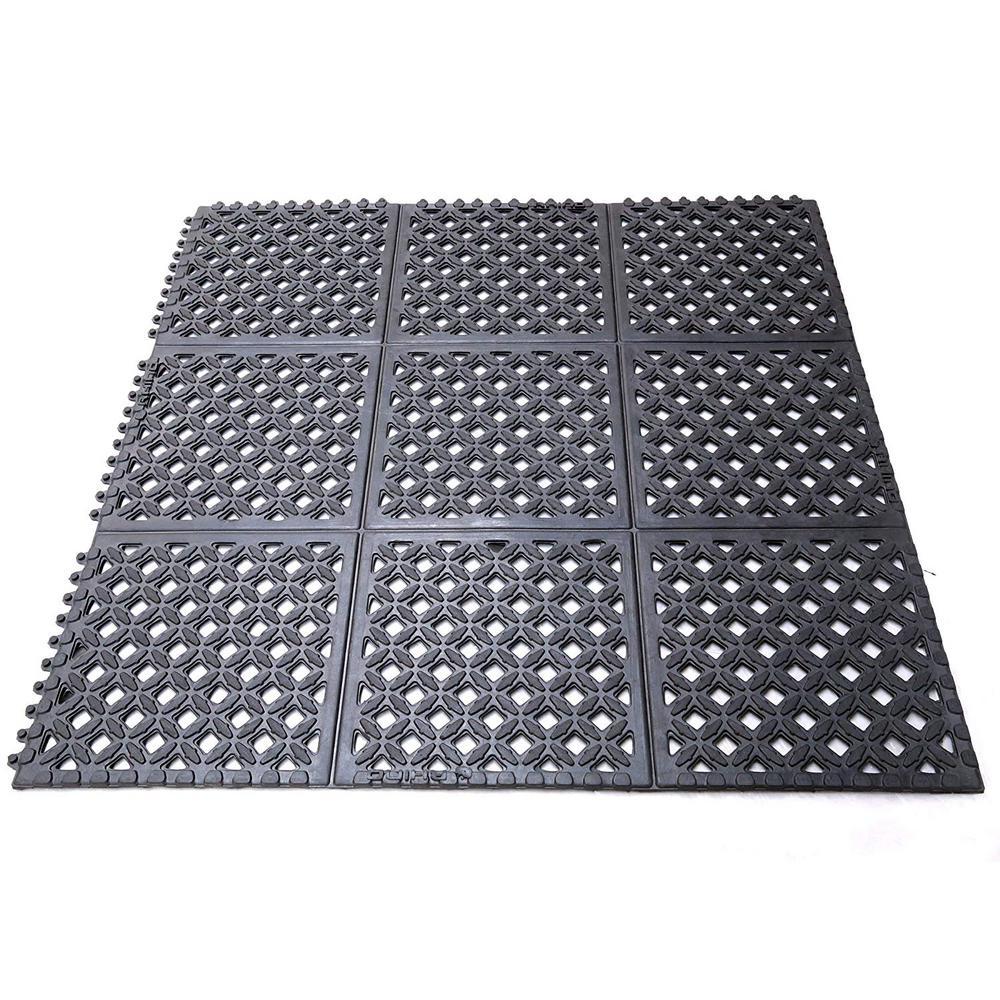 Drain-X Diamond Drain-Thru Black 3 ft. x 3 ft. x 1/2 in. Anti-Fatigue Rubber Kitchen Mat